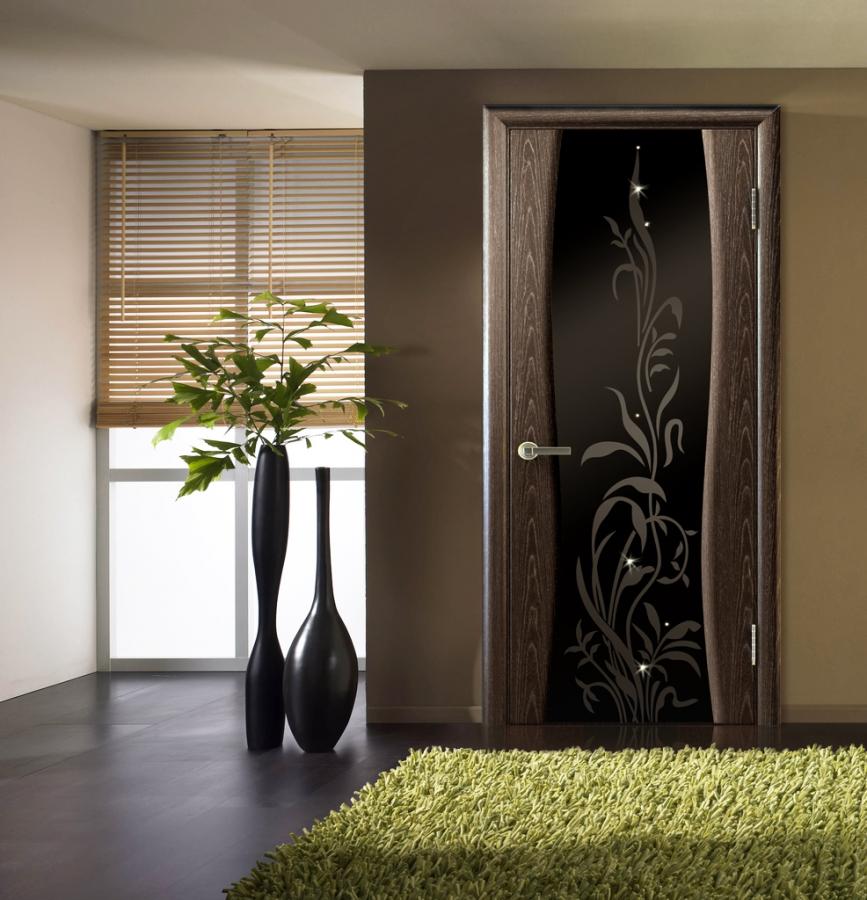 Двери венге с темным стеклом в интерьере фото